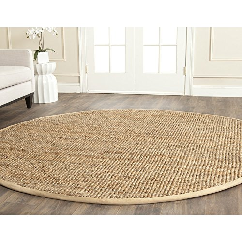 Round Contemporary Natural - Safavieh Natural Fiber Collection NF747A Hand Woven Natural Jute Round Area Rug (7' Diameter)
