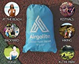 Airgolite Extra Large Picnic Blanket in Your Pocket - Light Blue/Gray - 79''x63'' Packable Outdoors Blanket for Picnics, Camping and Hiking. Comes with a set of 4 black stakes & a toolkit
