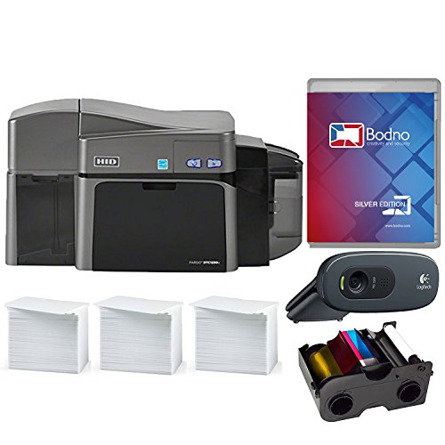 Fargo DTC1250e Dual Sided ID Card Printer & Complete Supplies Package with Silver Edition Bodno ID Software