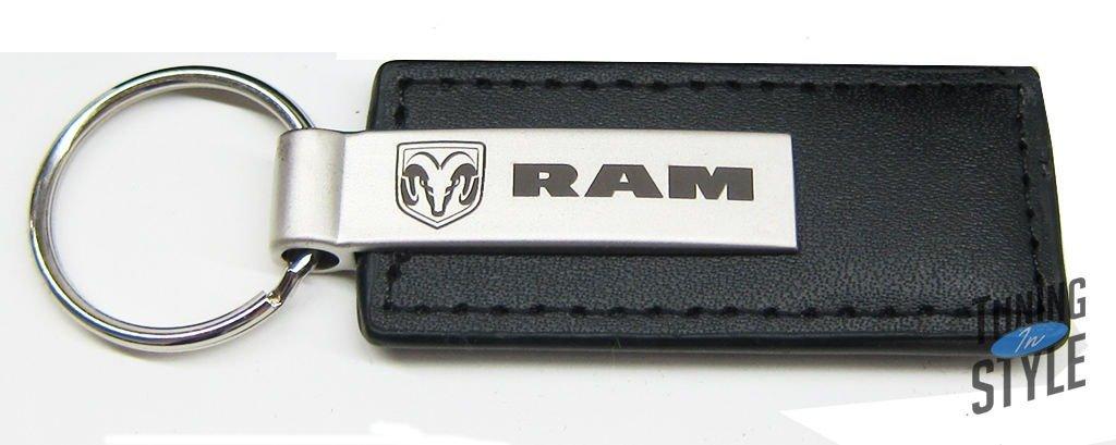 Dodge RAM Black Leather Key Chain Automotive Gold 4347626341