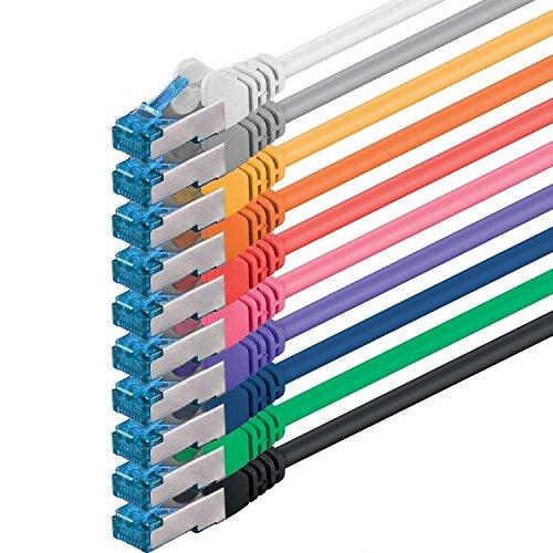 1aTTack.de 2m 10 colors Set CAT6a Network Cable Patchcable Lancable CAT 6a S-FTP double shielded PIMF 500MHz patch cable compatible with CAT5 CAT6 CAT7 CAT8 10GBASE-T – 10000 Mbps