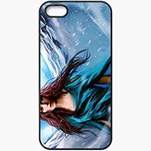 Personalized iPhone 5 5S Cell phone Case/Cover Skin Art Girl Picture Dress Snow Black
