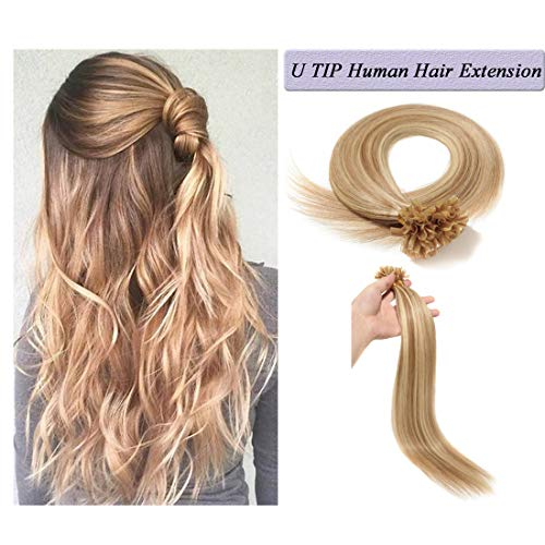 (U Tip Human Hair Extensions Pre Bonded Nail Tipped Real Human Hair Piece Italian Keratin Ombre U Tip Fusion Extensions Silky Straight 100 Strands 24