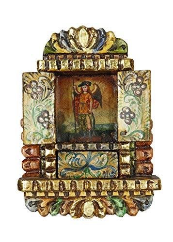 Archangel Raphael Colonial Peru Religious Handmade Retablo Handcarved Altarpiece