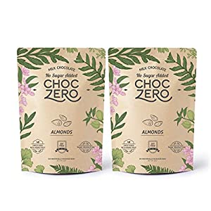 Well-Being-Matters 51o%2B40GzxGL._SS300_ ChocZero's Keto Bark, Milk Chocolate Almonds, No Added Sugar, Low Carb, No Sugar Alcohols, Non-GMO (2 bags, 6 servings…