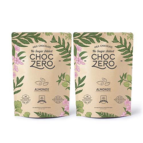 ChocZero's Keto Bark, Milk Chocolate Almonds, No Added Sugar, Low Carb, No Sugar Alcohols, Non-GMO (2 bags, 6 servings each) (Chocs Christmas)