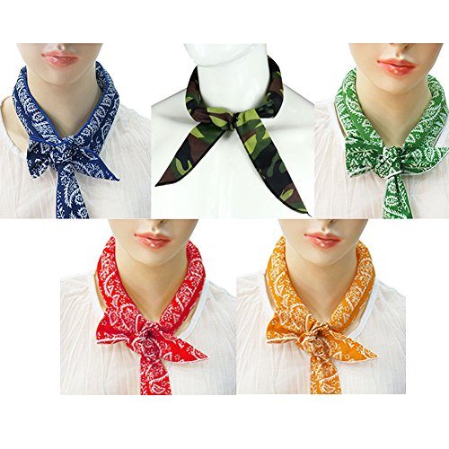 Pack of 5, The Elixir Ice Cool Scarf Neck Wrap Headband Bandana Cooling Scarf (Camouflage, Blue, Orange, Red, Green)