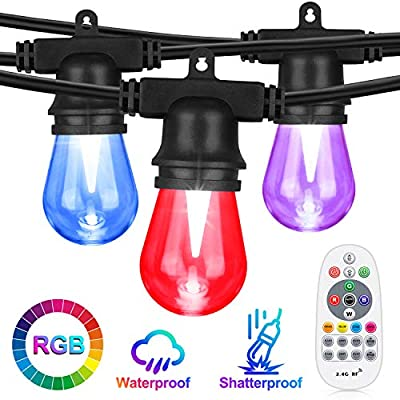 Color Changing Outdoor String Lights, RGB LED String Lights Shatterproof, 36FT with 12 x S14 Edison Bulbs Dimmable, Waterproof & Commercial Grade for Patio, Cafe, Backyard and Garden