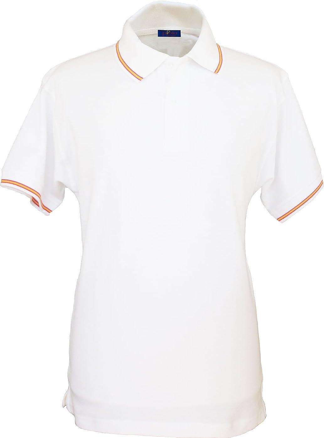 Pi2010 - Polo España Hombre con Bandera en Cuello y Mangas, Blanco, 100% algodón: Amazon.es: Ropa y accesorios
