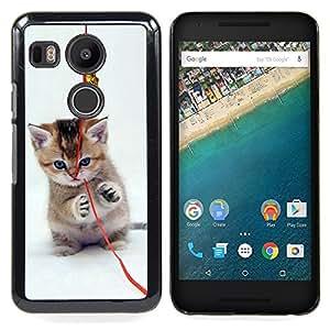 "Qstar Arte & diseño plástico duro Fundas Cover Cubre Hard Case Cover para LG GOOGLE NEXUS 5X H790 (Gatito lindo del gato"")"