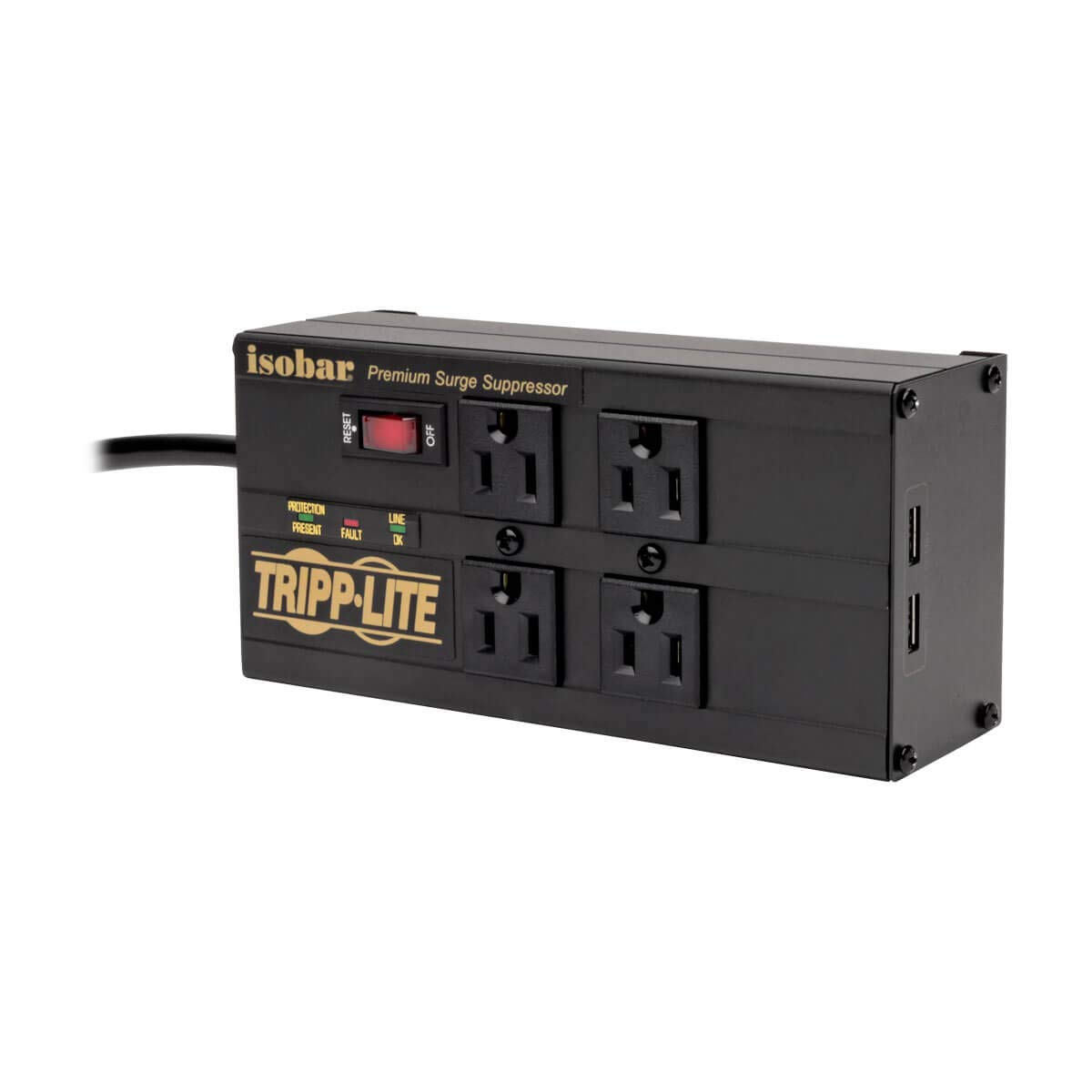 Tripp Lite Isobar 4 Outlet Surge Protector Power Strip with 2 USB Charging Ports, 8ft Long Cord, Right-Angle Plug, Metal, 3330 Joules, Lifetime Limited Warranty & $50K Insurance (IBAR4ULTRAUSBB)