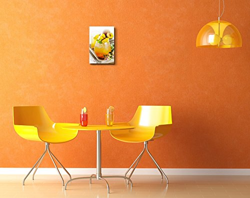 Refreshing Summer Cocktail with Peach Wall Decor