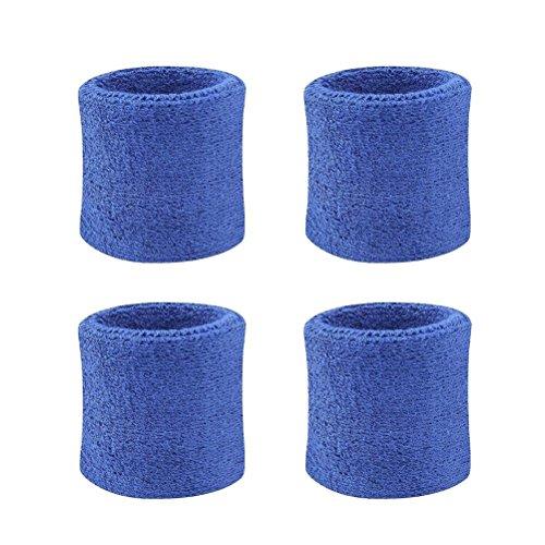 Eshylala 4 Pcs Sport Wristband Wrist Sweatband Athletic Cotton Elastic Sweatbands for Basketball Badminton Tennis Fitness All Sports - 7 color options