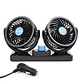 ChiTronic® Dual Head Rotatable Car Vehicle Air Cooling Fan - Dashboard & Console Stick-On, A/C Quick Cooling, Smoke Smell Ventilation, 2 Speed Control, 1.8M Cord (12V)