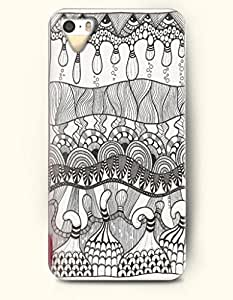 SevenArc Apple iPhone 5 5S Case Paisley Pattern ( Black and White Zendoodle of Eyes and Geometric Pattern )