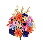 Admired-By-Nature-36-Stems-Artificial-New-Dahlia-Sunflower-Peony-Hydrangea-Mixed-Flower-Bush-with-Greenery-for-Home-Wedding-Restaurant-office-Decoration-Arrangement-CoralOrchidBlue