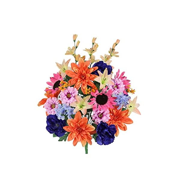 Admired By Nature 36 Stems Artificial New Dahlia, Sunflower, Peony, Hydrangea Mixed Flower Bush with Greenery for Home, Wedding, Restaurant & office Decoration Arrangement, Coral/Orchid/Blue