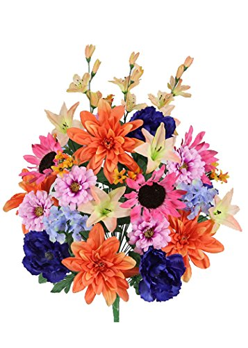 Admired By Nature 36 Stems Artificial New Dahlia, Sunflower, Peony, Hydrangea Mixed Flower Bush with Greenery for Home, Wedding, Restaurant & office Decoration Arrangement, - Bush Sunflower