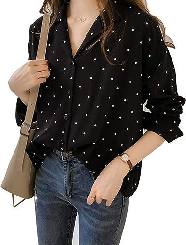 Haililais Mujer Camisa Gasa Suelto Camisetas de Manga Larga Caída Blusas Tops Puntos Hipster Tshirt con Botones Ocasionales: Amazon.es: Ropa y accesorios