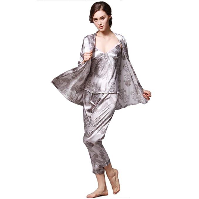 Pijamas Blandos para Mujer Servicio Domicilio A Batas Imprimir Traje De Tres Piezas Pijama Modernas Casual Camisón Camisa De Dormir Chemise: Amazon.es: Ropa ...