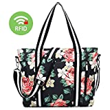 Laptop Tote Bag for Women 17.3'' - RFID Anti Theft Work Handbag Briefcase Floral Duffel Shopping Shoulder Bag Girls Travel Carrying Messenger Fits Notebook, MacBook with USB (17.3 Inch, Black)