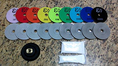 "4"" Wet Diamond Polishing Pad Complete Set  for Granite,"