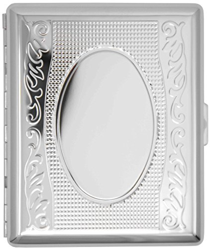 Silver Victorian Vines (Full Pack 100s) Metal-Plated Cigarette Case & Stash Box ()