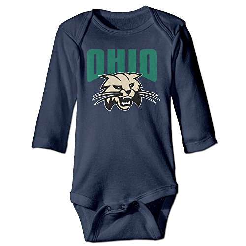 Price comparison product image JJVAT Ohio Bobcats Long Sleeve Bodysuit For 6-24 Months Boys & Girls Size 12 Months Navy