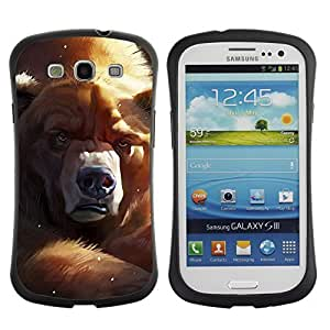 Hybrid Anti-Shock Bumper Case for Samsung Galaxy S3 / Grumpy Bear