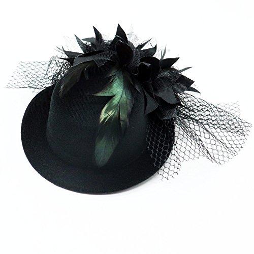 HUELE Women's Flower Hair Clip Fascinator Feather Burlesque Punk Mini Hat- (Burlesque Mini)