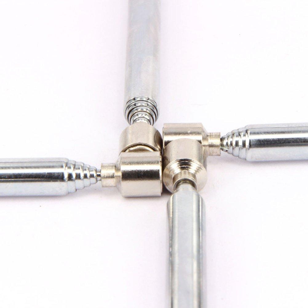 Zchui Herramienta de Recogida magn/ética telesc/ópica port/átil Stick Varilla retr/áctil Extensible Plata Plata