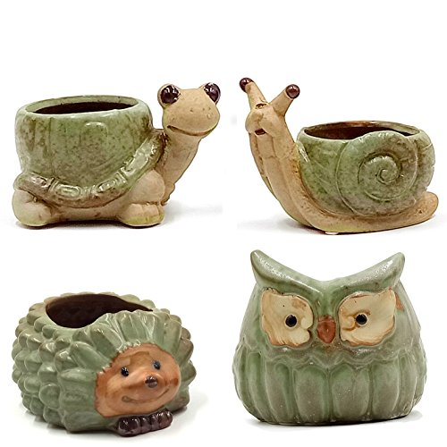 LEANDALE Ceramic Succulent Pots Cactus Plant Flower Mini Animal Pots Rustic Antique Green in Gift Box (Green-Set of 4) by LEANDALE