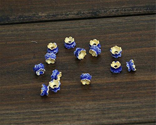 MFMei 925 Sterling Silver Lotus Flower Golden Plated Cloisonne Bead Caps - Beads Flower Cloisonne