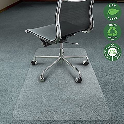 Office Marshal Chair Mat for Carpet   Eco-Friendly Series Chair Floor Protector   100% Recycled (PET) Floor Mat for Office or Home Use   Multiple Sizes   Translucent - 40'' x (Carpet Static)