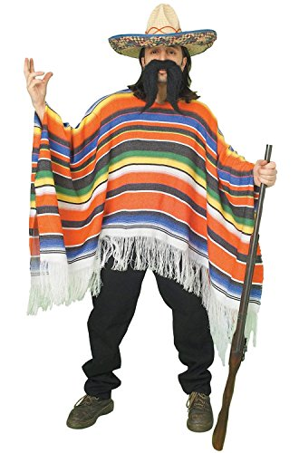 Forum Novelties Men's Adult Mexican Serape Costume, Rainbow, One Size