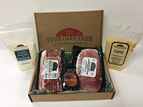 Old-Timey Breakfast Box - Makes a perfect gift - Hickory Smoked Bacon - Country Ham - Stone Ground Grits - Pancake Mix - Pancake Syrup - Reusable Cooler - Free Priority Shipping -