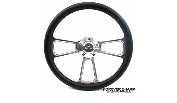 "48-59 Chevy Chevrolet Truck Black Billet Steering Wheel 14/"" Chevy Bowtie Cap"