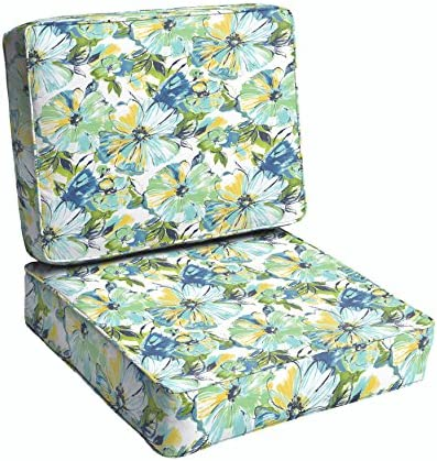 Humble and Haute Perryn Green Blue Floral Indoor Outdoor Corded Chair Cushion Set