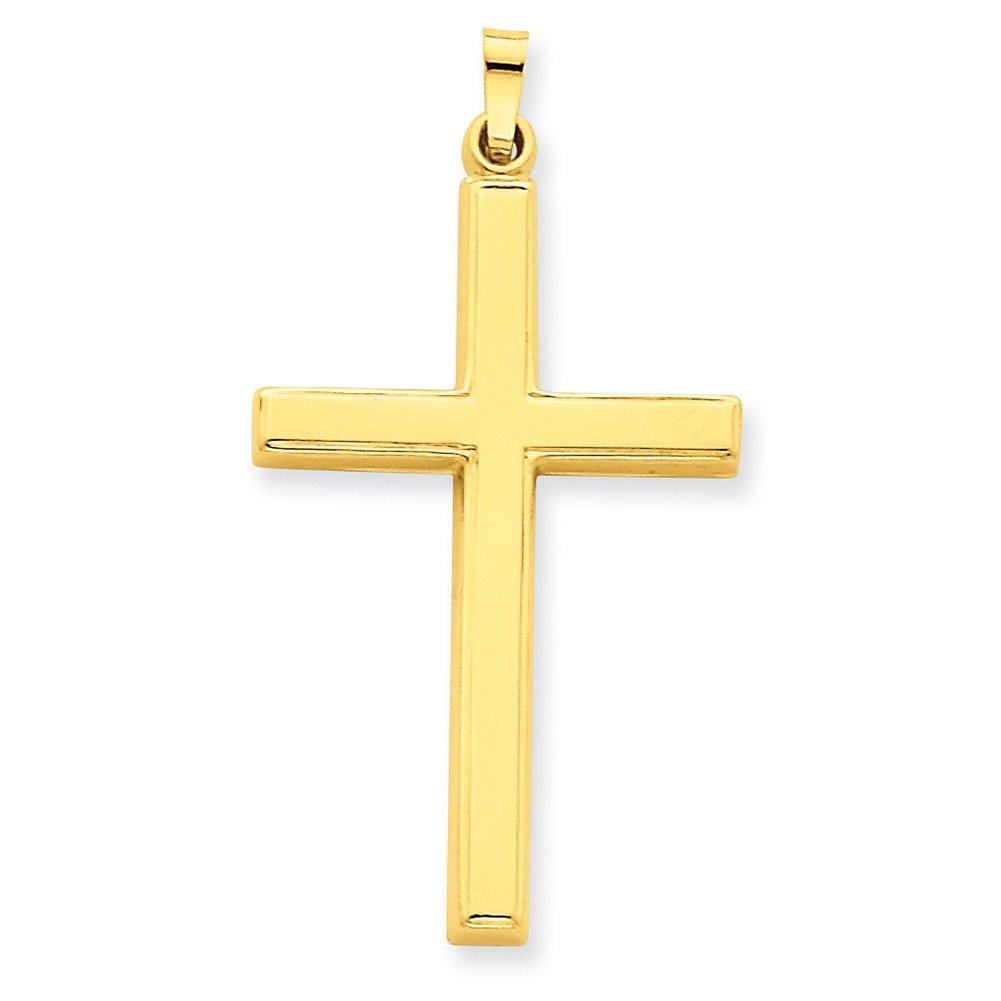 Lex /& Lu 14k Yellow Gold Hollow Cross Pendant LAL89320