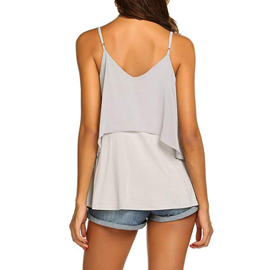 2019 Women Sexy V Neck Sleeveless Camis Summer Tank Tops Patchwork Casual Blouses (Gray, S) by Tanlo (Image #6)