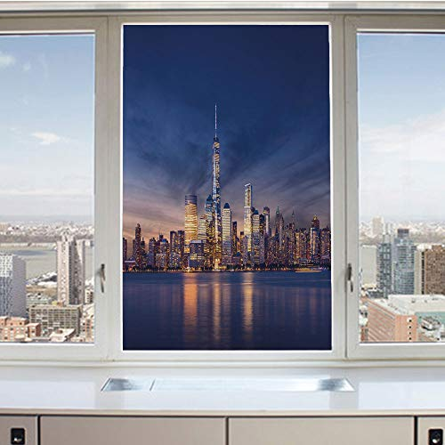 3D Decorative Privacy Window Films,New York Skyline Manhattan After Sunset Metropolis Downtown Urban Panorama USA,No-Glue Self Static Cling Glass Film for Home Bedroom Bathroom Kitchen Office 17.5x36