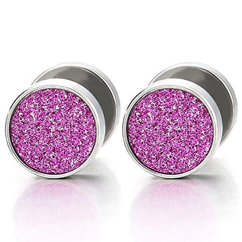 Pink Glitter Plugs - 8mm Women Circle Stud Earrings with Purple Pink Sand Glitter, Steel Fake Ear Plugs Gauges Tunnel