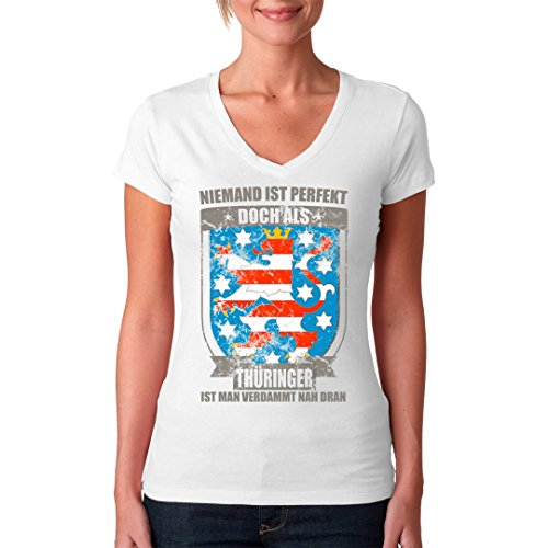 Fun Sprüche Girlie V-Neck Shirt - Perfekter Thüringer Wappen by Im-Shirt Weiß Vkfv4