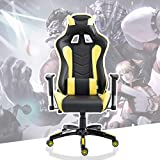 Cloud Mountain Gaming Chair Swivel Chair Racing Chair Ergonomic High Back Computer Desk Chair with Headrest and Lumbar Support Pillow, Black Yellow