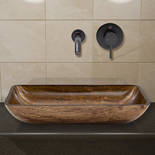 VIGO Rectangular Amber Sunset Glass Vessel Bathroom Sink and Olus Wall Mount Faucet with Pop Up, Antique Rubbed Bronze