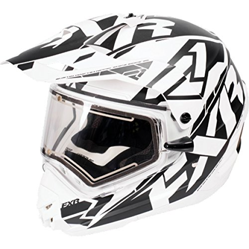 FXR Torque X Core WHT/BLK Snowmobile Helmet With Electric Face Shield Large