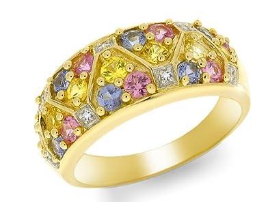 Yellow 9ct Gold Multi Gem Stone Ring Amazon Co Uk Jewellery