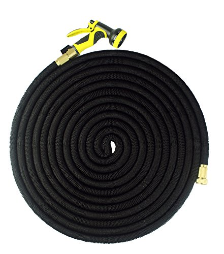 FOCUSAIRY 100 Feet Expanding Heavy Duty Expandable Strongest Garden Water Hose with Shut Off Valve Solid Brass Connector and 9-pattern Spray (Extendable Hose)