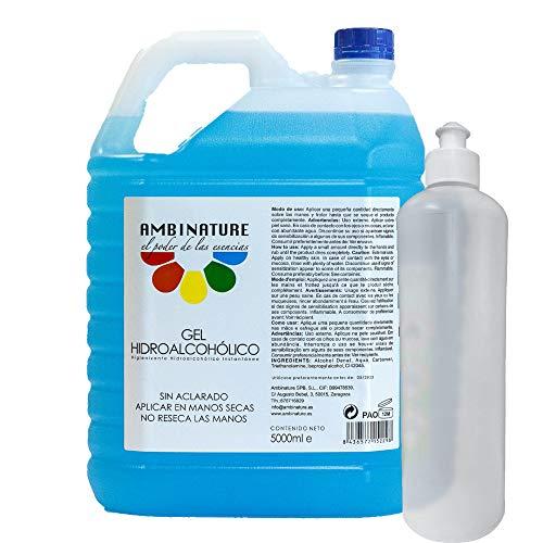 🥇 Gel hidroalcoholico manos 5 litros desinfectante de manos liquido antiseptico antibacteriano jabon antiséptico a base de alcohol ideal para dispensadores/Incluye bote de 500ml para rellenado