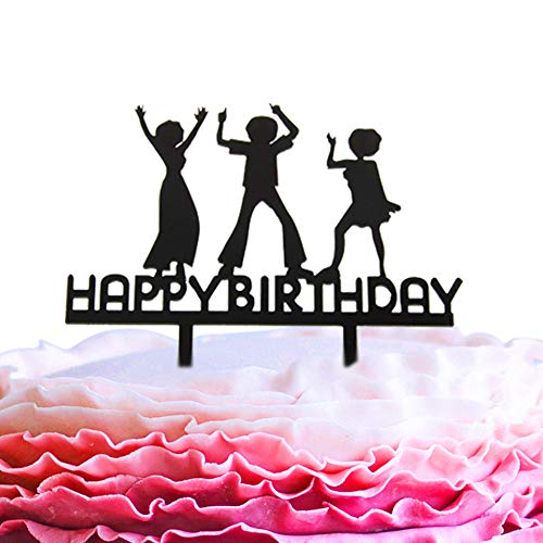 A Series of Happy Birthday Dance Acrylic Cake Topper - Various Birthday Cake Supplies Decorations (Black)